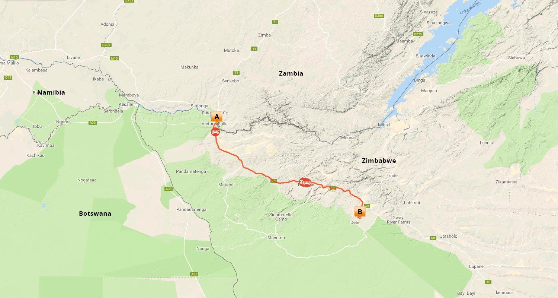 Victoria Falls & Hwange Wildlife Experience - Map