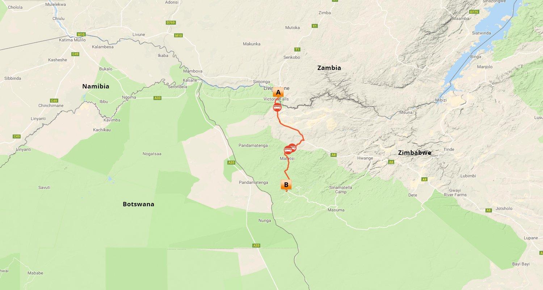 Victoria Falls & Northern Hwange - Map