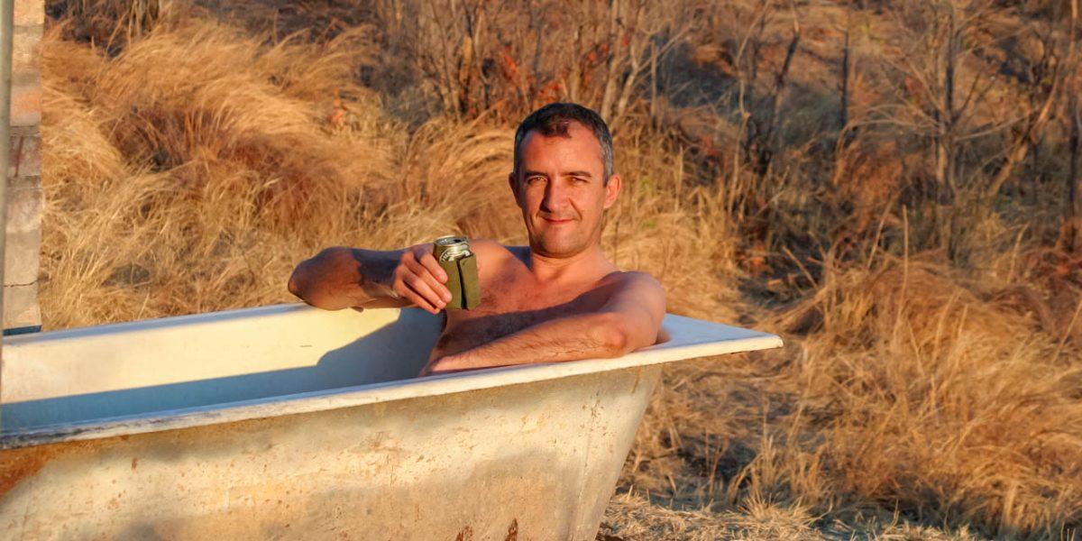 Tony Park having a bath at Nantwich in Hwange
